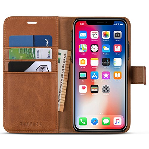 iPhone X Detachable Wallet Case Brown - KANVASA Premium Genuine Leather 2 in 1 Flip Folio Book Magnetic Cover for the Original iPhone X/iPhone 10 (5.8'') - Supports Wireless Charging Qi by KANVASA (Image #1)