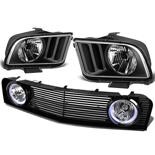 Ford Mustang 4.0L V6 Pair of Black Housing - Mustang 2008 Headlights Hid Halo