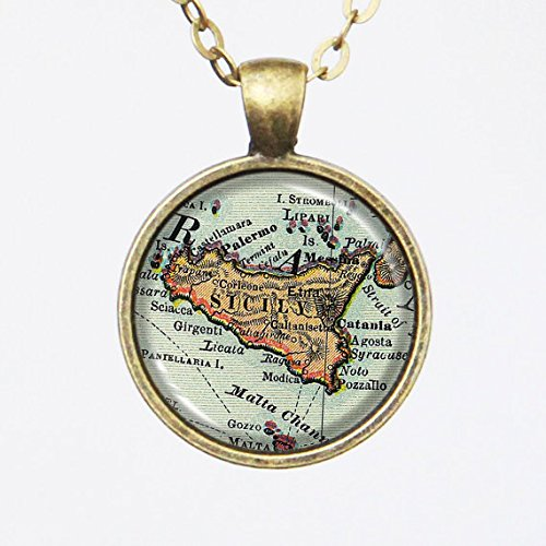 Custom Map Necklace -Sicily Island, Italy -Vintage Map Series