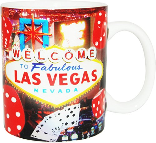 Welcome To Las Vegas Red Dice Collage 11 ounce Souvenir Coffee Mug