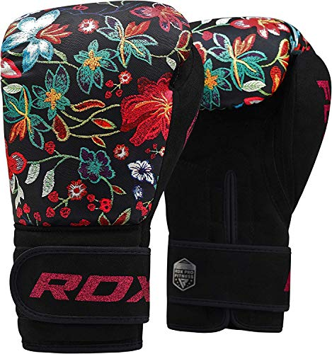RDX Women Boxing Gloves for Training & Muay Thai - Flora Skin Ladies Mitts for Sparring, Fighting & Kickboxing - Good for Punch Bag, Focus Pads and Double End Ball Punching