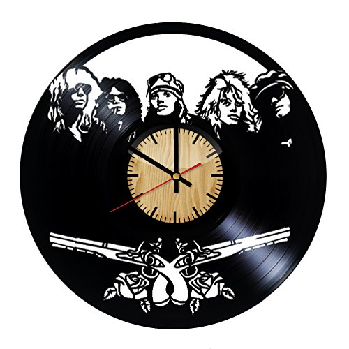 ForLovedGifts Guns N' Roses Music Design Vinyl Wall Clock - Handmade Gift for Any Occasion - Unique Birthday, Wedding, Anniversary, Wall décor Ideas for Any Space