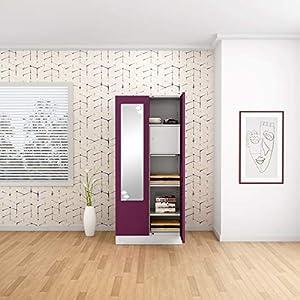 GODREJ INTERIO Slimline 2 Door Steel Almirah with Locker, Drawer, Star Mirror in Purple, Textured Finish