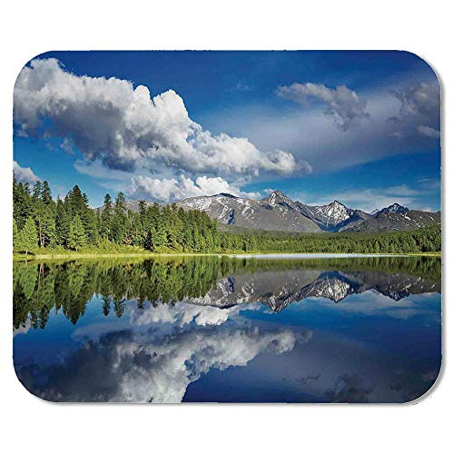Lakehouse Decor Precise Mouse Pad,Lake and Reflection View at The Skirts of Altai Mountains Covered with Fresh Spring Forest for Home & ()