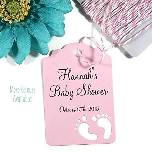 Personalized Pink Baby Shower Tags - Baby Girl Shower Favor Tags (Set of 20)