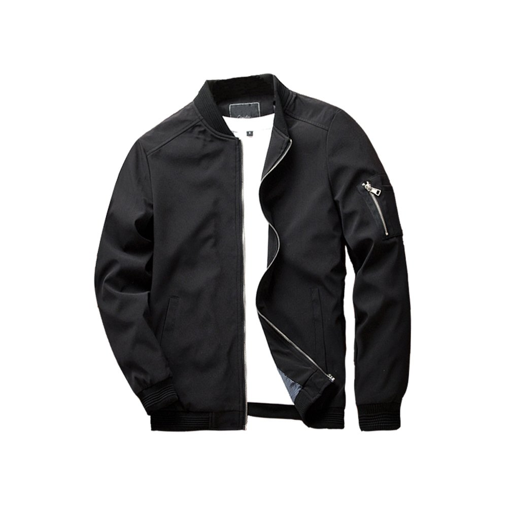 URBANFIND Men's Slim Fit Lightweight Sportswear Jacket Casual Bomber Jacket US L Black by URBANFIND
