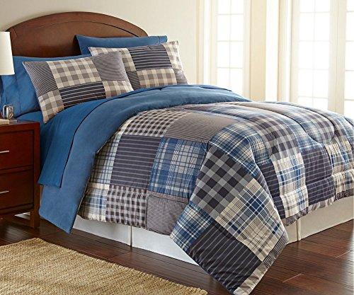 Shavel Home Products Comforter Mini Set, King/Cal-King, Smokey Mountain Plaid, California King (Plaid Fleece Comforter)