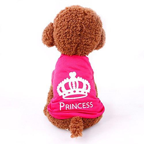DREAMOWL Pet T-Shirt Small Dog Cat Summer Pink Crown Princess Vest Clothes (XS)