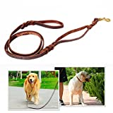 BIENNA Dog Leash, Heavy Duty Long Brown Genuine Leather Braided [2 Handles for Long or Close Distance Pulling] Training and Walking Lead Rope for Small Medium and Large Dogs Pet [No Pull]-5/8 x 6.2ft
