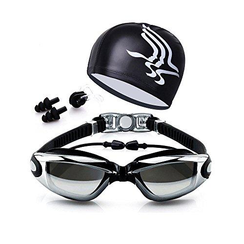 Swimming Goggles + Swim Cap + Case + Nose Clip + Ear Plugs Swim Goggles Anti Fog UV Protection for Adult Men Women Youth Kids