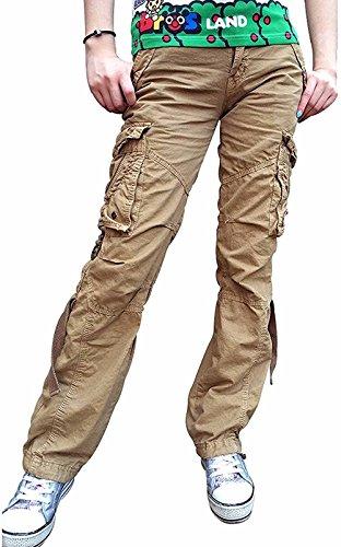 Urbanboutique Femmes Combat Dsinvolte Cargaison Six Poche Coton Militaire Pantalon Jeans Kaki