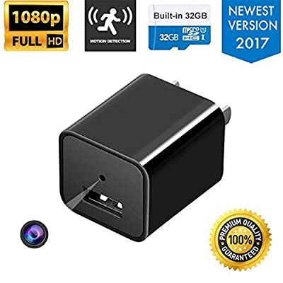 M&F INNOV| Hidden Surveillance Camera |Motion Camera USB Charger| HD 1080P| 32GB (included) + (FREE) 3-In-1 Charger Cable|Nanny Spy Camera