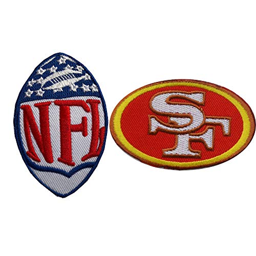 Hipatch San Francisco 49ers Embroidered Patch Iron on Logo Vest Jacket Cap Hoodie Backpack Patch Iron On/sew on Patch Set of 2Pcs