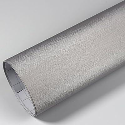 Rapid Teck Premium - Película Auto sin Burbuja con Conductos de Aire para Coche Laminado y 3D Pegar en Mate Brillo y Carbono - Aluminio Cepillado Plata, 3m x 1,52 m: Amazon.es: Hogar