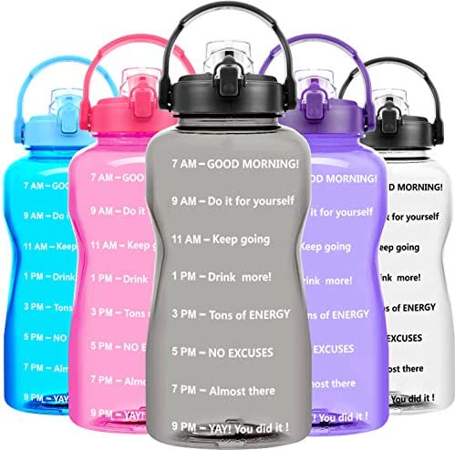 BuildLife Motivational Gallon Water Bottle – 128 OZ, Time Marker & Flip Lid,BPA Free Leak-Proof Reusable Sports Gym Fitness Outdoor