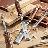 Wood Chisel Tool Sets, 6 Pieces Chrome Vanadium and Hard Ashtree Handle Woodworking Chisel Kit with Premium Wooden Case for Carpentry Craftsman
