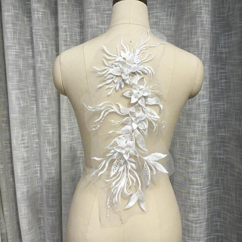 Luxury Embossed Flower Lace Applique with Pearl Details Beaded Floral Appliques Fine Embroidery Patches Dress Fringe Sew on Gown Dress Costume ()