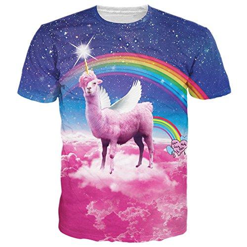RAISEVERN Unisex Rainbow Llamacorn Printed Hip Hop Style T-Shirts Llamacorn Medium