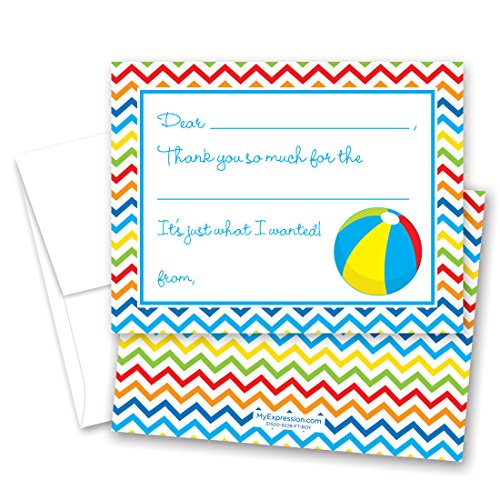 MyExpression.com 20 Beach Pool Party Kids Fill-in Thank You (Kids Party Com)