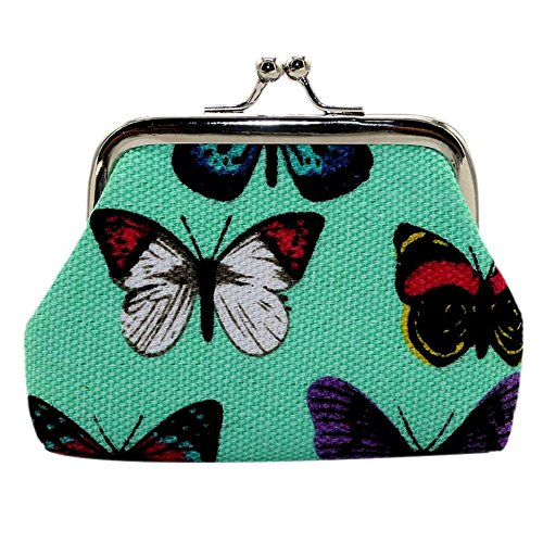 (Simayixx Women's Butterfly Small Wallet Card Holder Coin Purse Clutch Bag Handbag (One Size, Green))