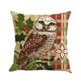 Christmas Pillow Cushion Covers Mingfa Soft Owl Pattern Sofa Bed Home Square Throw Pillow Covers 45cm*45cm (B)