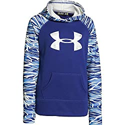 Under Armour Girls' Printed Big Logo Armour Fleece Hoody Siberian Iris Siberian Iris Ivory Small