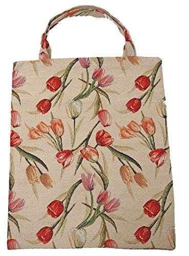 Einkaufstasche Beutel Stofftasche Shopper Bag Tasche Bistro Gobelin Royaltex Signare Tulpen Fa. Bowatex