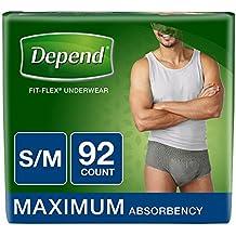 Depend Fit-Flex Small/Medium Maximum Absorbency Underwear for Men, 92 ct.