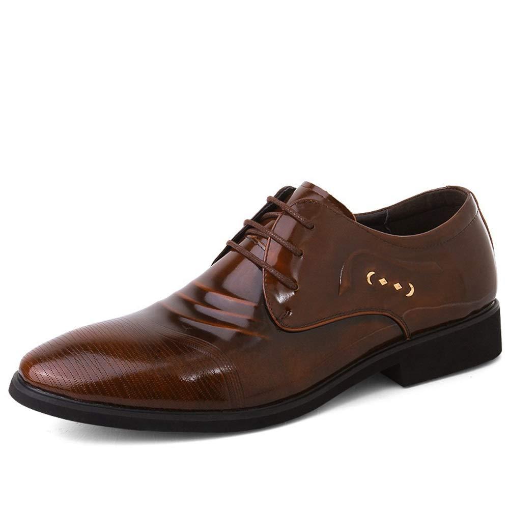 Marron 42 EU Hommes Affaires Oxford SHOS Chaussures Formelles à Lacets Style Microfibre en Cuir Leisuer Simple Pure Couleur,Chaussures de Cricket