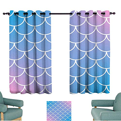 Warm Family Curtain for Kids Fish Scale and Mermaid Background for Living, Dining, Bedroom (Pair) ()