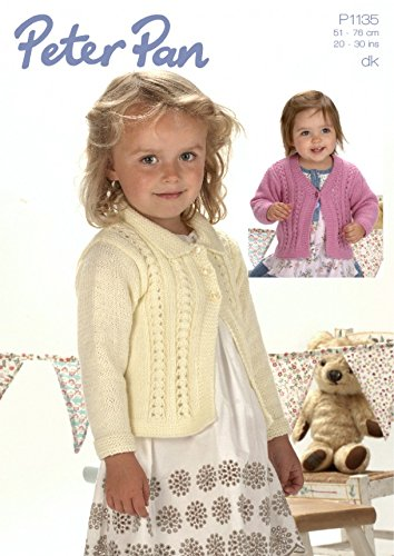 Peter Pan Girls Cardigans Knitting Pattern 1135 DK