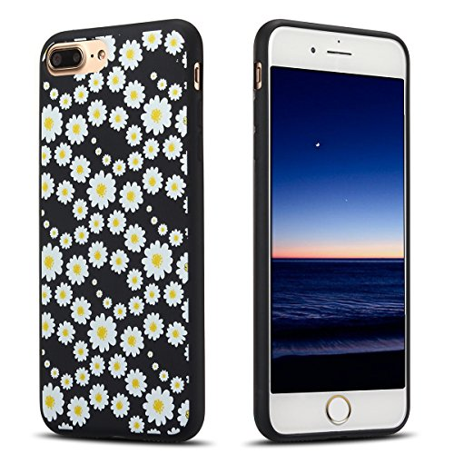 Funda iPhone 8 Plus , Carcasa iPhone 7 Plus , (5.5 Pulgadas) E-lush Suave Gel Silicona TPU Case Cover Para Apple iPhone 8 Plus / 7 Plus Ultra slim delgado Black Blanda Cáscara Caja Opaco Fondo Negro F