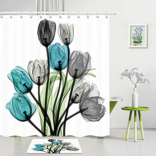 Colorful Tulip Flowers Shower Curtain and Mat Set, Creative Art Tulips with Green Leaves on White, Machine Washable Fabric Bath Curtains 69X70 Inch, Sets Include Matching Rug and 12 Hooks, Grey Blue (Rugs Matching Curtains And)