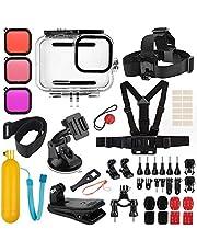 Accessoires Kit voor GoPro Hero 9 Zwart, Accessoire Bundel Set voor Hero 9 Zwart, Waterdichte Behuizing Case+Rubber Case+3 Filters fit voor GoPro Hero 9
