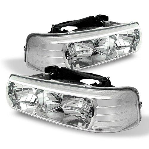 For chevy 1999-2002 Silverado 3500 2500 1500 HD 00-06 Tahoe Suburban Clear Euro Headlights (Left+Right) Chevy Suburban Euro Headlights