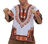 RaanPahMuang Unisex Bright Africa White Dashiki Cotton Plus Size Shirt, XXXXXXX-Large, Orange White