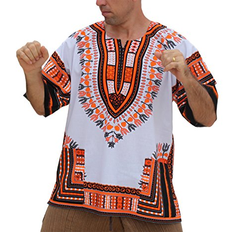 RaanPahMuang Brand Unisex Bright African White Dashiki Cotton Shirt #24 Medium Orange Large