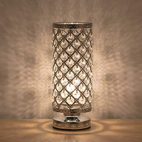 HAITRAL Crystal Table Lamp Modern Night Light Lamp with Metal Frame 110 Pcs Crystals Elegant Bedside Desk Lamp for Bedroom, Living Room, Dining Room Sliver (Room Elegant Living Lamps For)