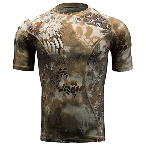 - QIAOMENG Camouflage Tactical T-Shirts Short Sleeve for Men Quick Dry Fit Army T-Shirt Military Fashion Outdoor Hunting Clothes for Fitness Airsoft Paintball (xx-Large, Highland)