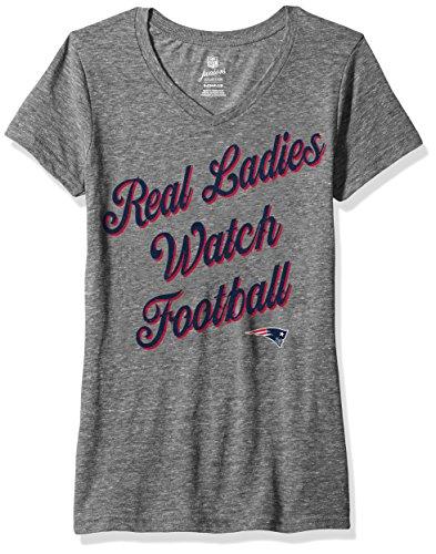 Outerstuff NFL Junior Girls Real Short Sleeve Tee, New England Patriots, Dark Grey Heather, M(7-9)