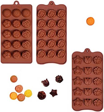 Poproo Flower Shaped 3-piece Candy Molds Set 15-cavities Chocolate Ice Cube Mold, Tulip Rose Sunflower Lotus Shapes