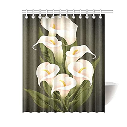 Image Unavailable Not Available For Color Custom Calla Lily Pattern Waterproof Shower Curtain