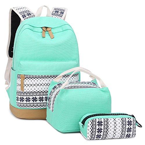 School Backpacks for Teen Girls Lightweight Canvas Backpack Bookbags Set (Light Green) by CAMTOP (Image #5)