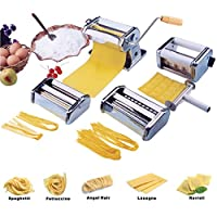 Vivo © Heavy Duty 5 in 1 Stainless Steel Professional Fresh Pasta Lasagne Spaghetti Tagliatelle Ravioli Maker Machine Cutter with 3 Cut Press Blade Settings and Table Top Clamp