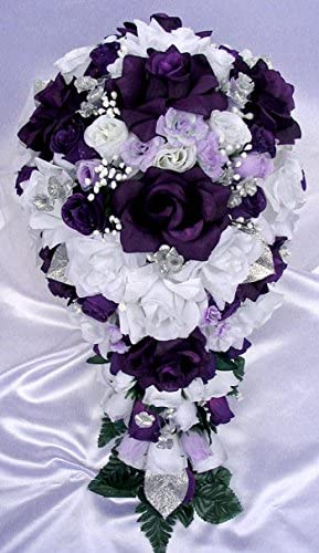 Amazon Com 21 Pcs Wedding Silk Flower Bouquet Bridal Package