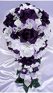 Amazon.com: Wedding Flowers Silk Bridal Bouquet BLACK RED 17 piece ...