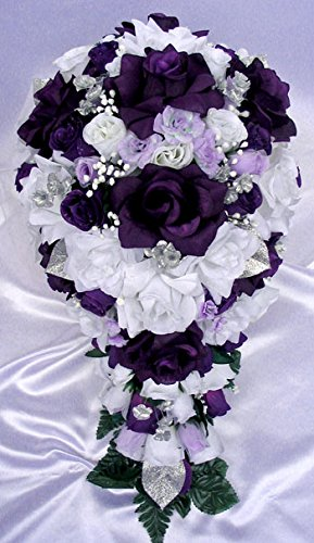 Amazon 21 Pcs Wedding Silk Flower Bouquet Bridal Package Purple