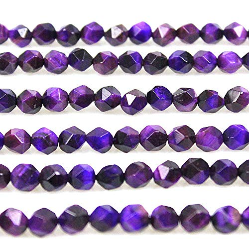 MJDCB Best Sellers Natural Stone Beads Faceted Polygon Purple Tiger Eye Crystal Energy Stone Healing Power for Jewelry Making(8mm)