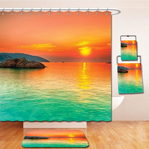 LiczHome Bath Suit: Showercurtain Bathrug Bathtowel Handtowel Nature Decor Collection Sunset over the Sea Con Dao Vietnam Golden Sunlights Colorful Sky Reflection on Water Picture Tapestry Teal - Sky Macy Pictures