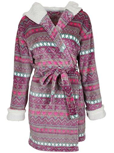 Capelli New York Ladies Heart Fairisle Printed Super Soft Robe Pink Combo L/XL Capelli Heart
